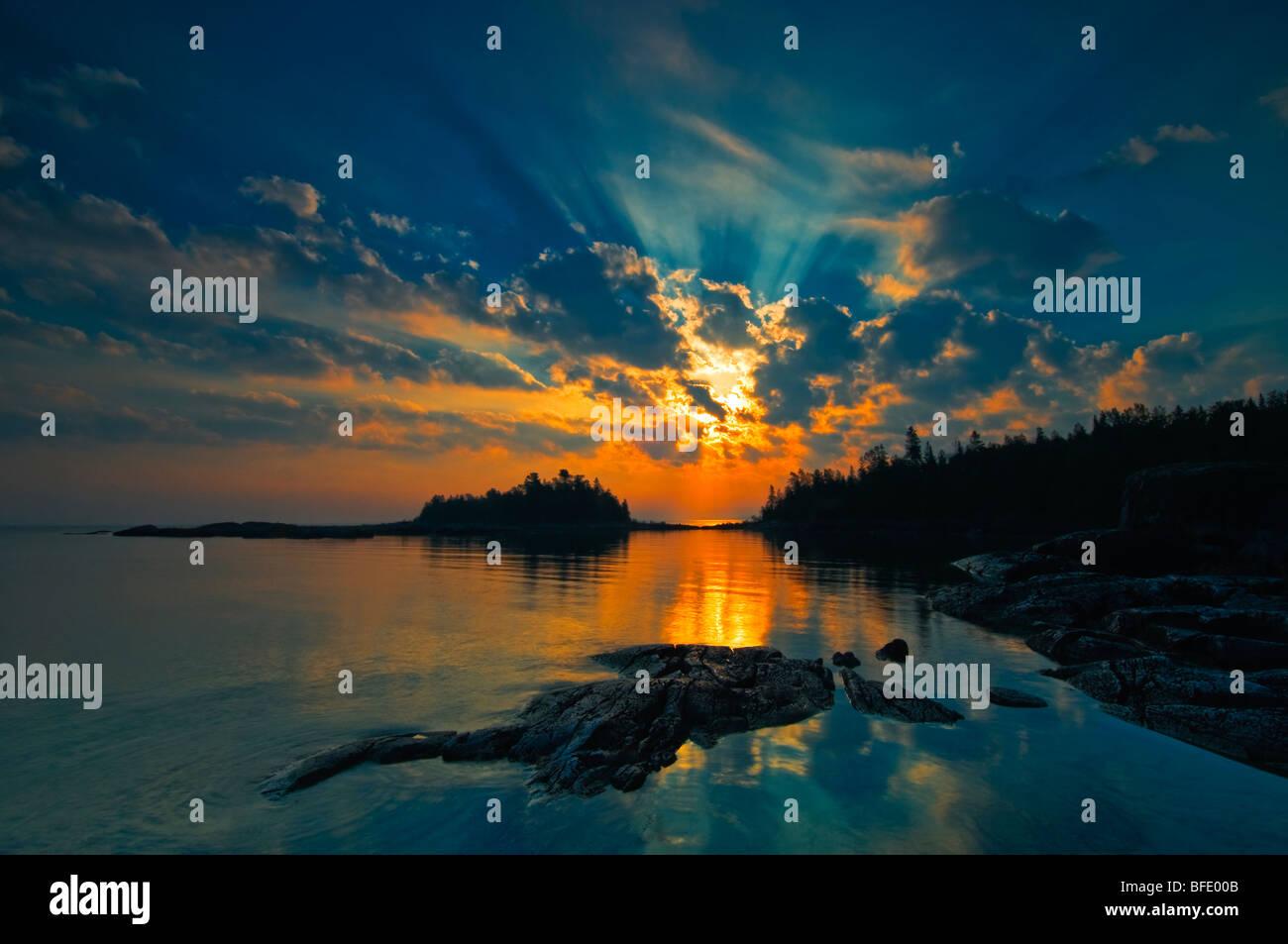Sunrise on Georgian Bay at Burnt Point, Fathom Five National Marine Park, Ontario, Canada - Stock Image