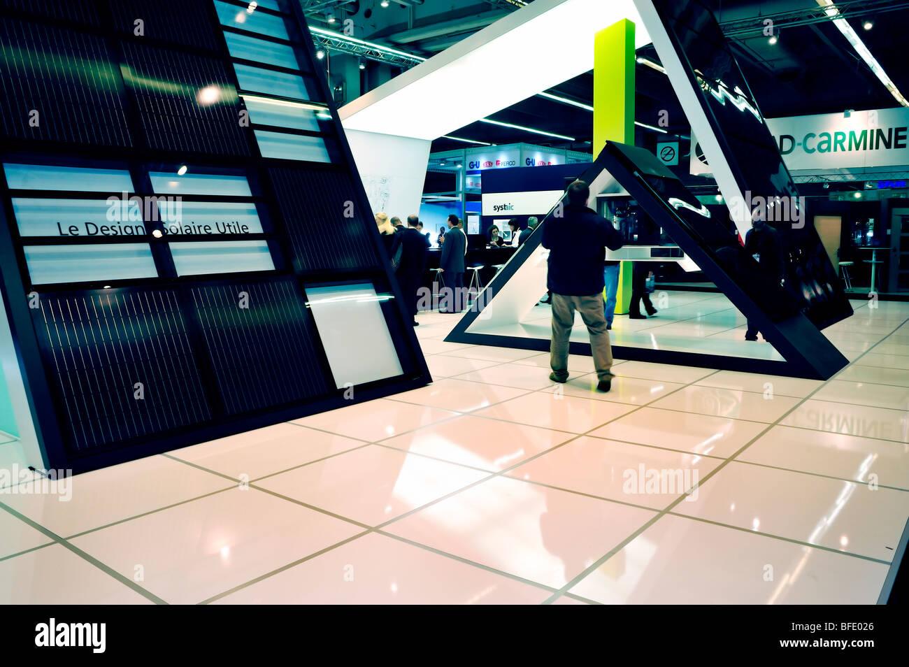 Paris, France, Construction Equipment Trade Show, Solar Energy Panels, Company display, Concept Model - Stock Image