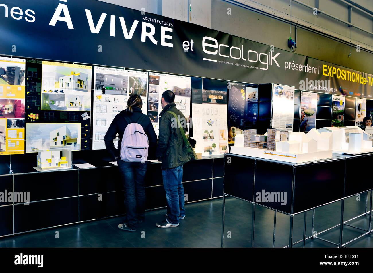 Paris, France, Young Couple Looking, Construction Equipment Trade Show, Salon Batimat, Ecologik 'Sustainable - Stock Image