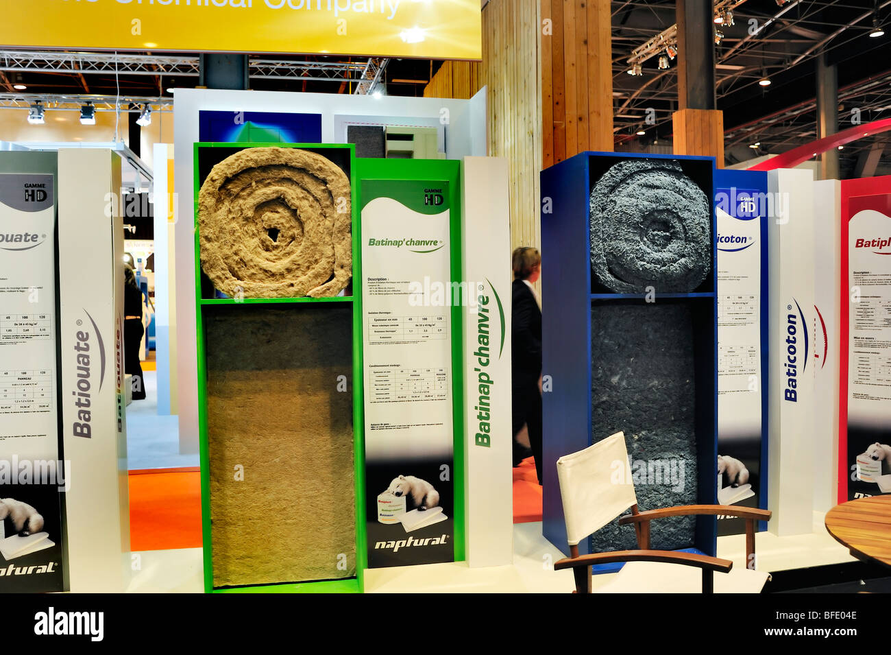 Paris, France, Construction Equipment , Natural House Insulation Company, Products on Display in Trade SHow - Stock Image