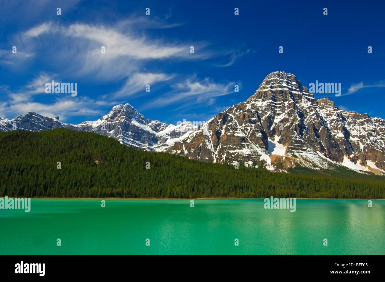 Mount Chephren and Lower Waterfowl Lake in spring, Banff National Park, Alberta, Canada - Stock Image