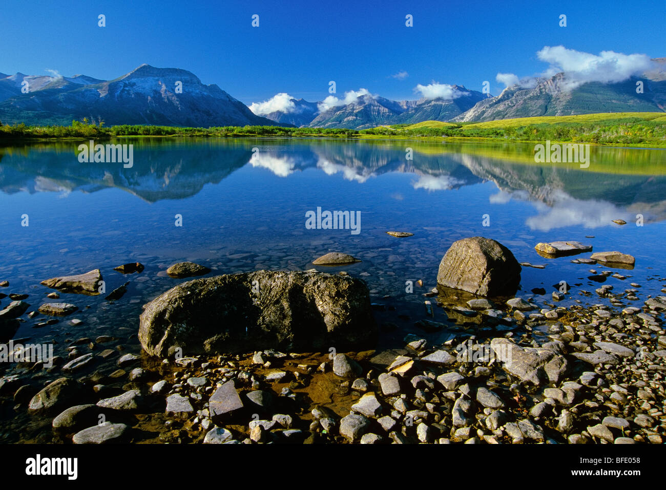 Vimy Peak and Lower Waterton Lake, Waterton Lakes National Park, Alberta, Canada - Stock Image