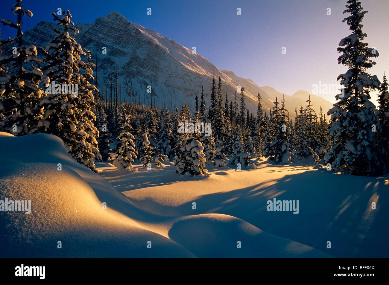 Sunset over winter landscape, at Boom Lake, Banff National Park, Alberta, Canada - Stock Image
