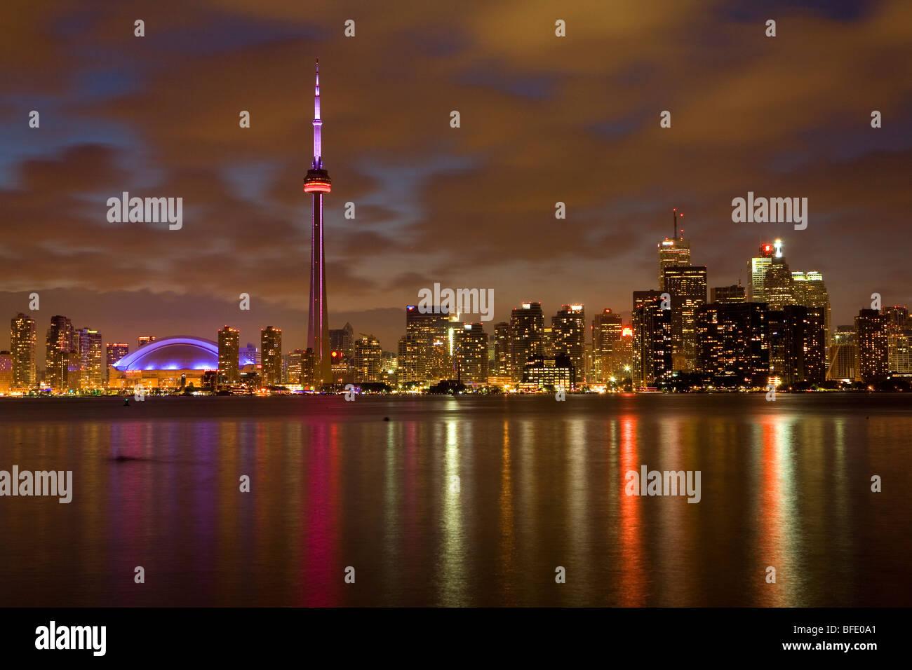 Toronto skyline at night from Toronto Islands, Ontario, Canada - Stock Image