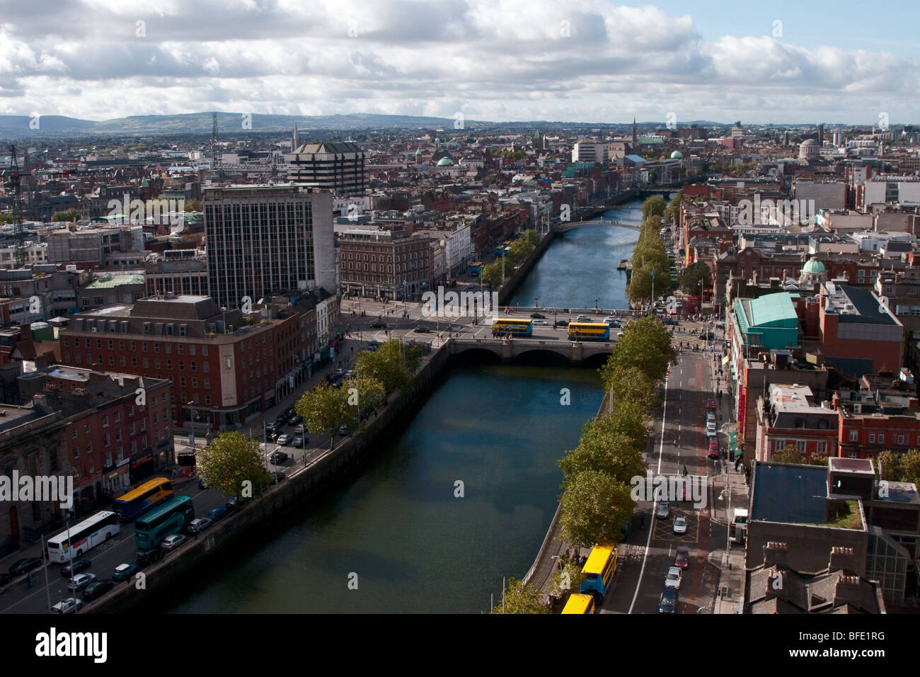 River Liffey Flows through Dublin City Centre (under O'Connell Bridge). View from Liberty Hall, Eden Quay, Dublin, - Stock Image
