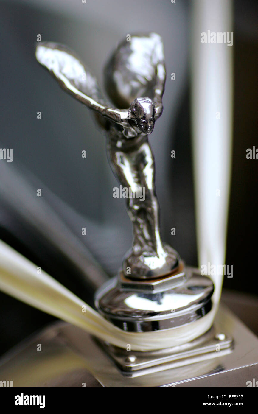 The Spirit of Ecstasy, also called 'Silver Lady' or 'Flying Lady' hood ornament on Rolls Royce cars - Stock Image