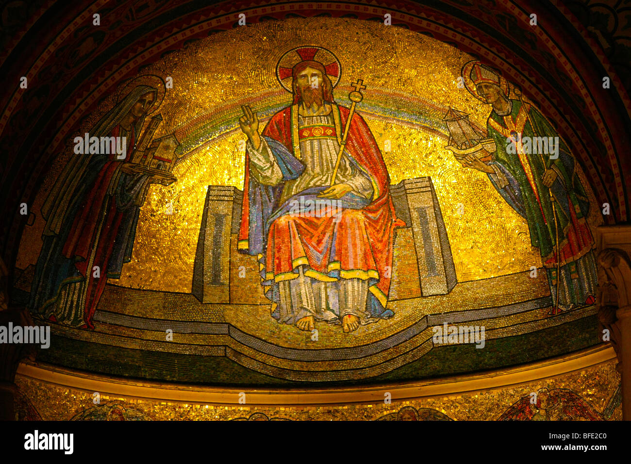A colourful mosaic depicting Christ in the Italianate church in Wilton Wiltshire UK - Stock Image