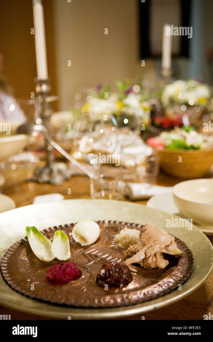Passover Seder Plate. - Stock Image