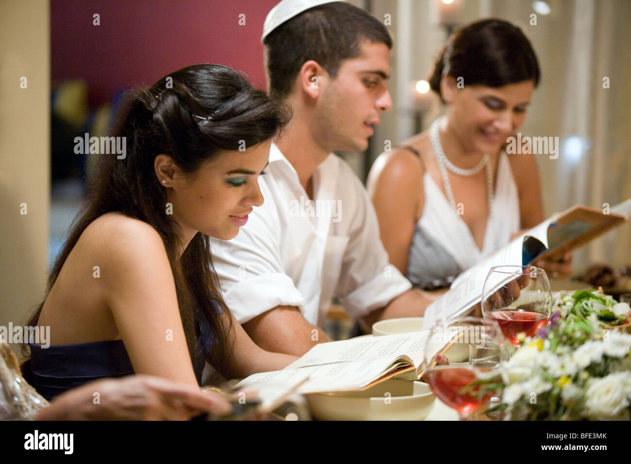 Reading the Haggadah. - Stock Image