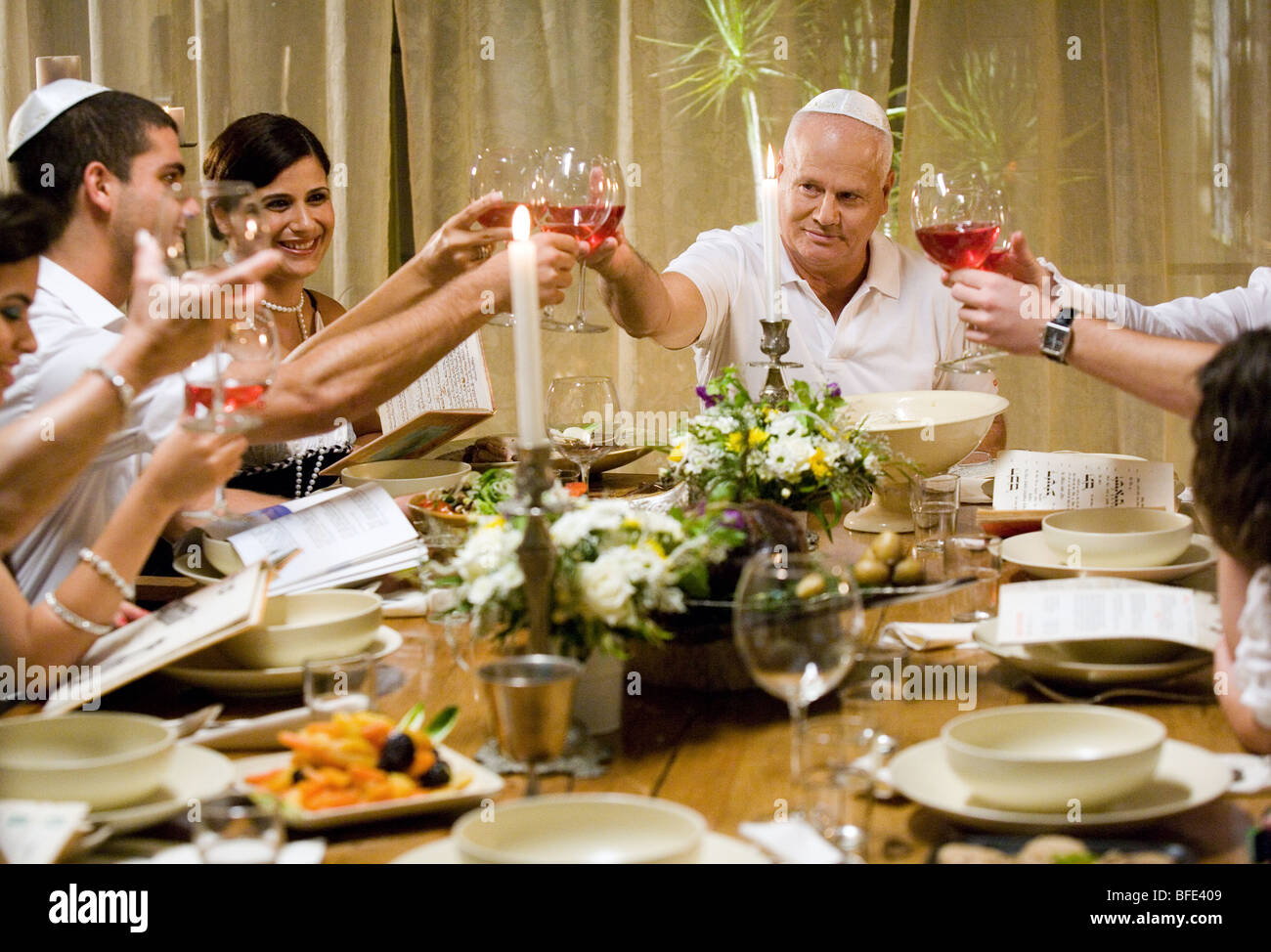 Family at the Seder Night. - Stock Image