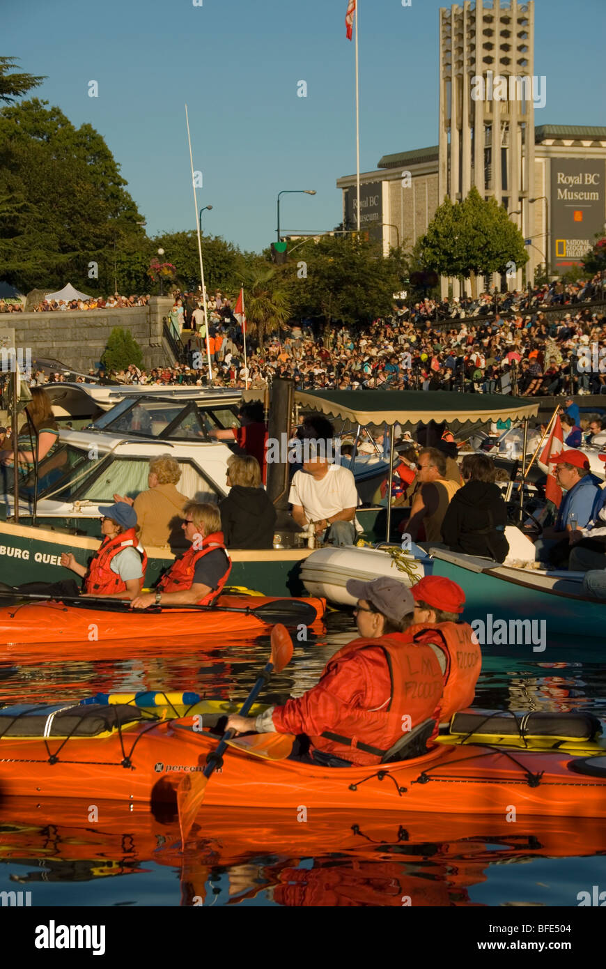 Boaters crowd the harbour for the annual summer Symphony Splash in Victoria, Vancouver Island, British Columbia, - Stock Image