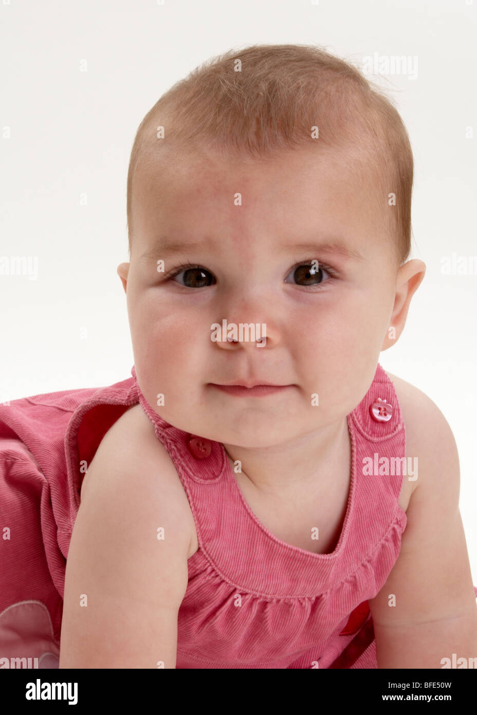 1 year old baby girl in pink dress on white background