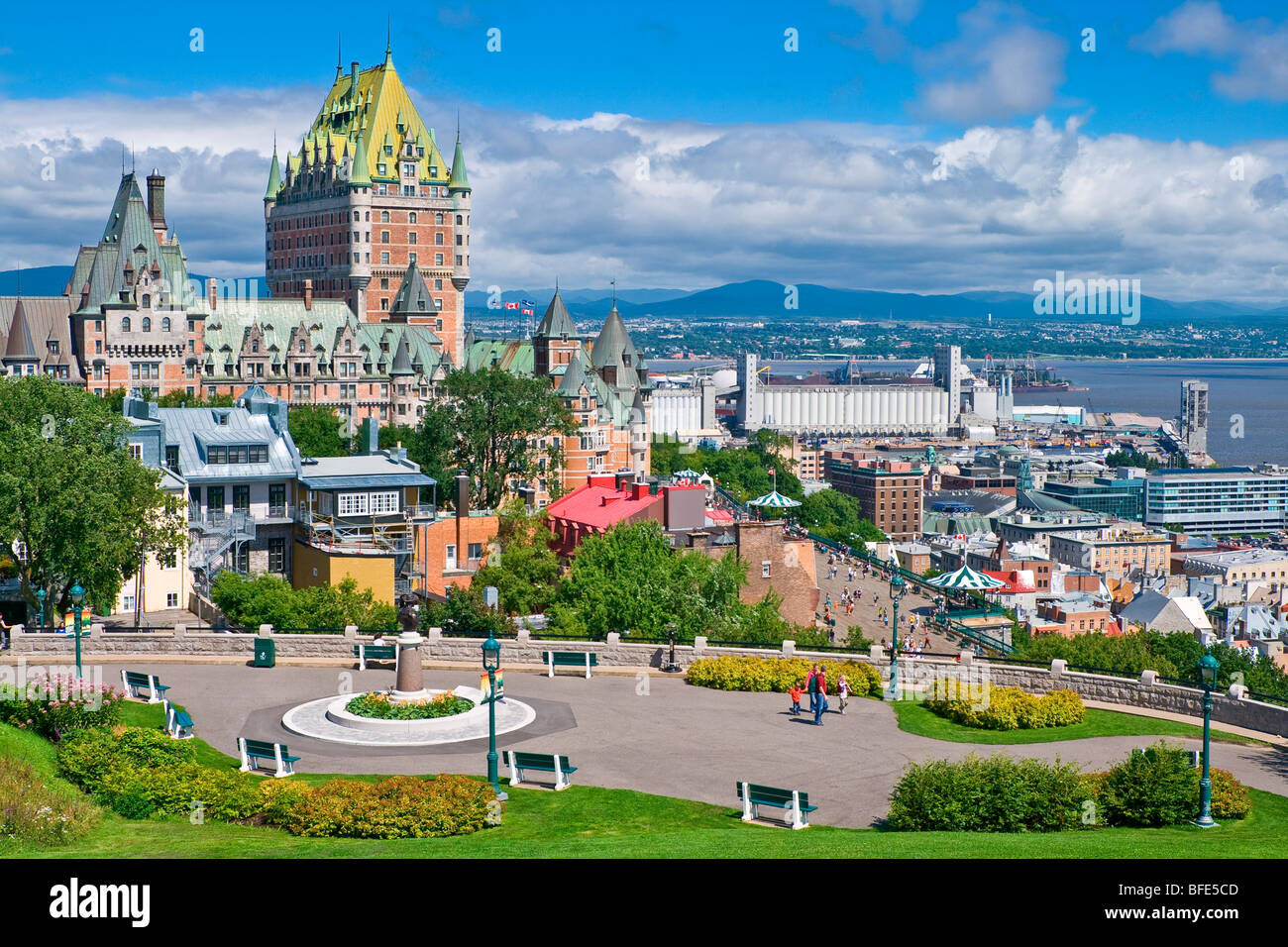Cityscape of Old Quebec City with Chateau Frontenac in the distance and Cap Diamant park in the foreground - Stock Image