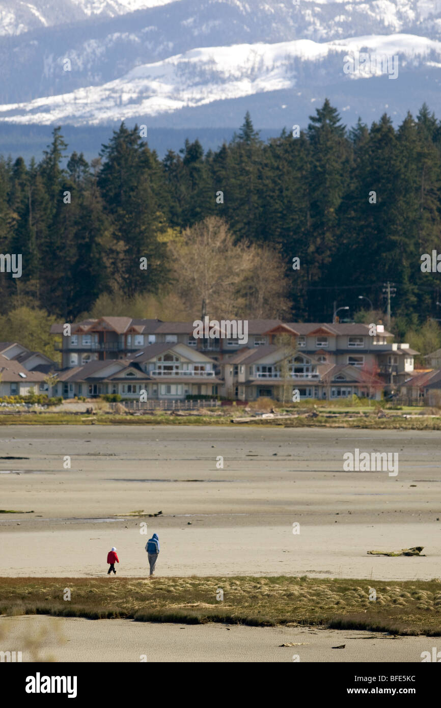 Father and son stroll the beach at low tide in Comox Bay, Courtenay, Vancouver Island, British Columbia, Canada - Stock Image