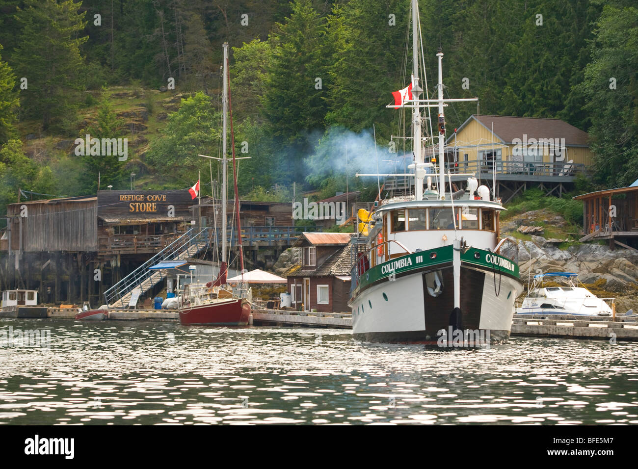 Boat, MV Columbia III,, Desolation Sound, British Columbia, Canada - Stock Image