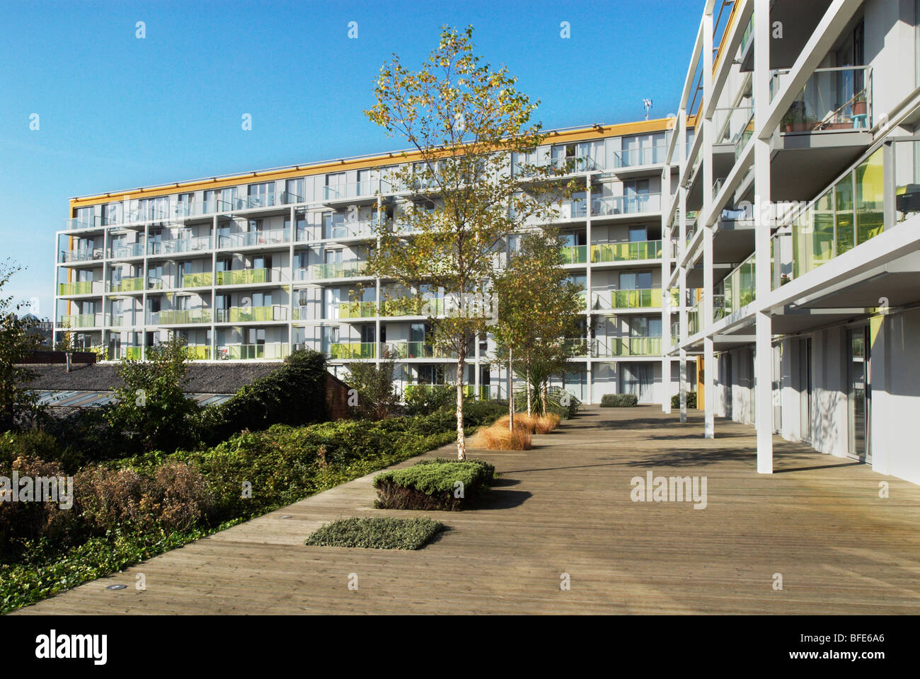 Affordable and shared-ownership housing at the New River Village development Hornsey North London UK - Stock Image