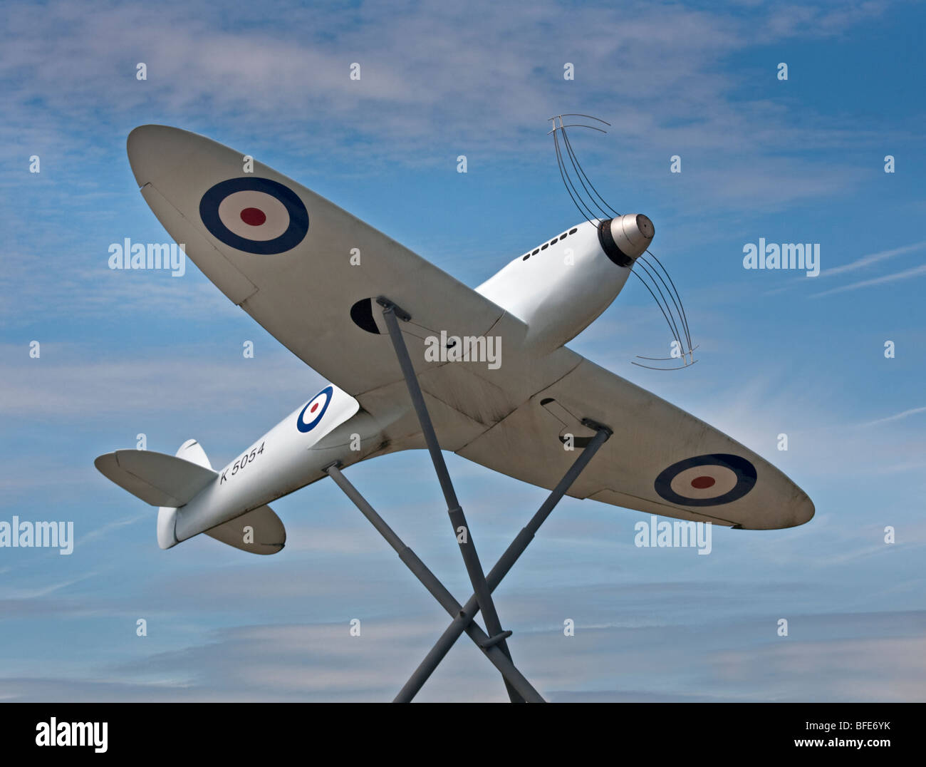 Spitfire Monument outside Southampton (Eastleigh) Airport, Hampshire, England Stock Photo