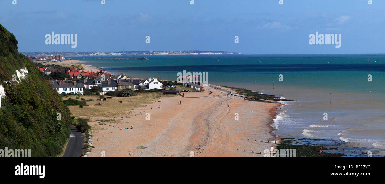 Panoramic View of Kingsdown and Oldstairs Bay, Kent, with Deal  and Ramsgate in the background - Stock Image