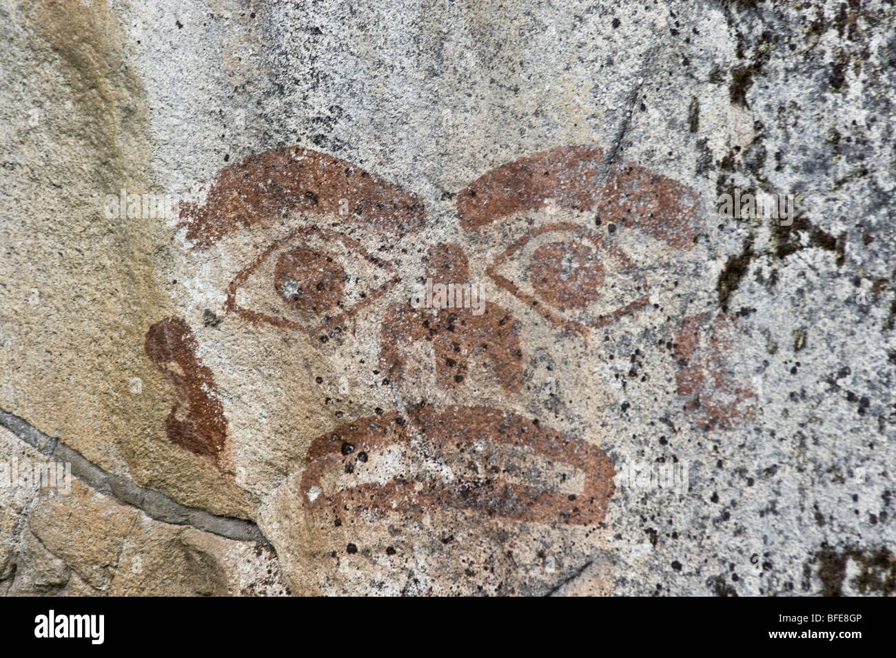 Pictograph on rock near Prince Rupert in northern British Columbia, Canada - Stock Image