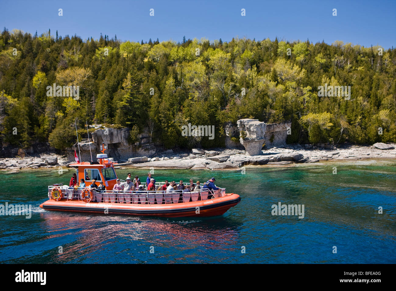 Zodiac, inflatable tour boat, offshore from Flowerpot Island in Fathom Five National Marine Park, Lake Huron, Ontario, - Stock Image