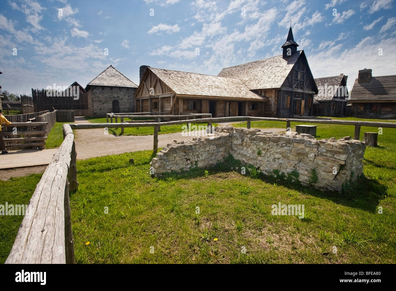 Old stone wall at the entrance to the Sainte-Marie Among the Hurons settlement in the town of Midland, Ontario, - Stock Image