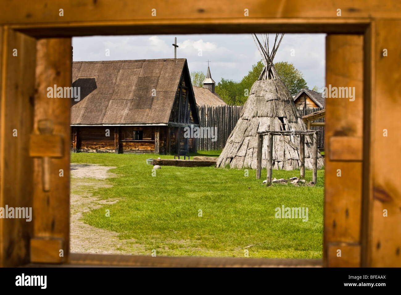 Looking out hospital window at a teepee in the Sainte-Marie Among the Hurons settlement in the town of Midland, - Stock Image