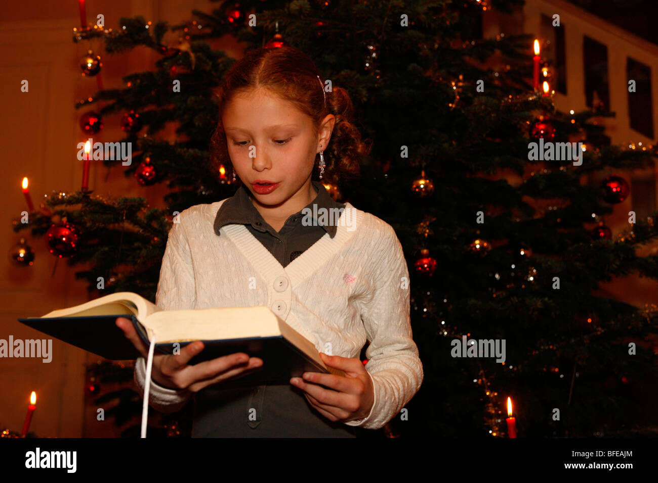Christmas Day In France.France Bible Reading On Christmas Day Stock Photo 26745900