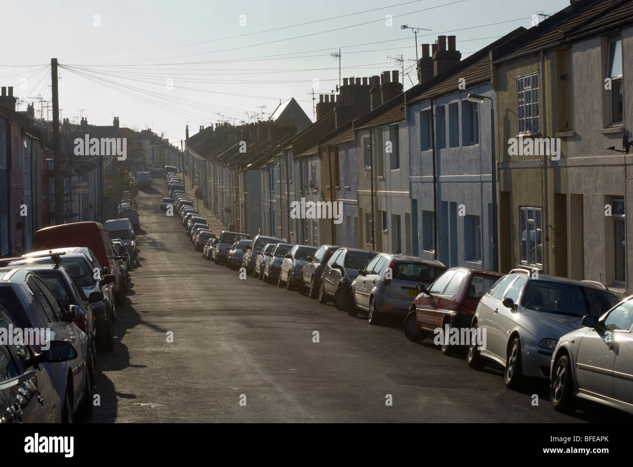 Lines of parked cars on a residential street. Hanover, Brighton. - Stock Image