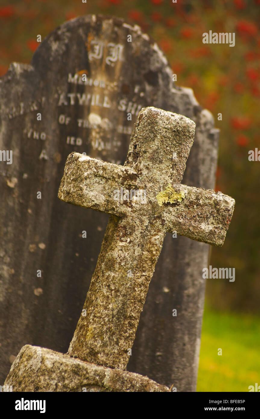 Gravestone and cross in graveyard Dartmoor Devon UK - Stock Image