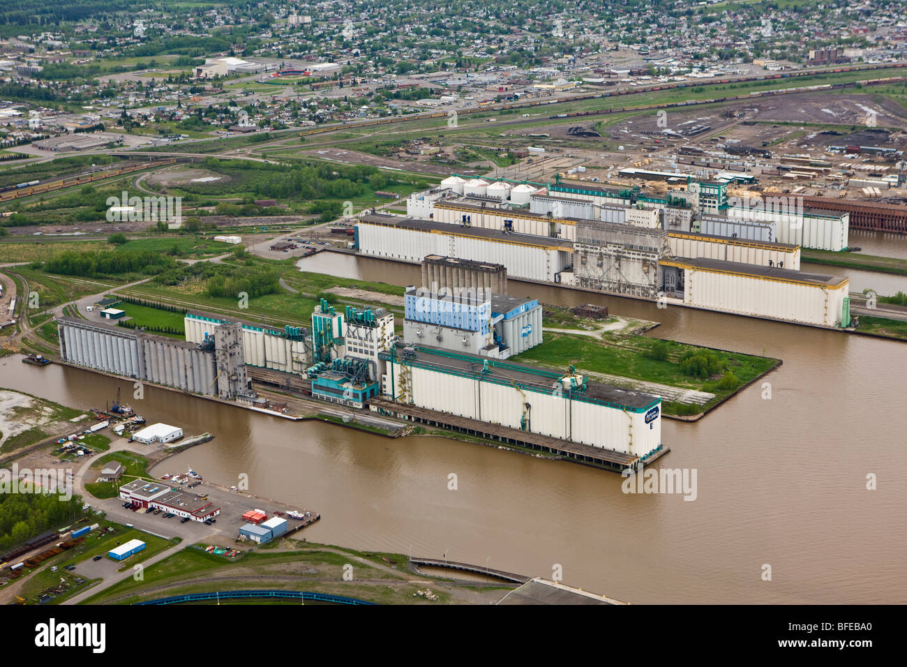 Grain elevators at the ship terminals along the Lake Superior waterfront in the city of Thunder Bay, Ontario, Canada - Stock Image