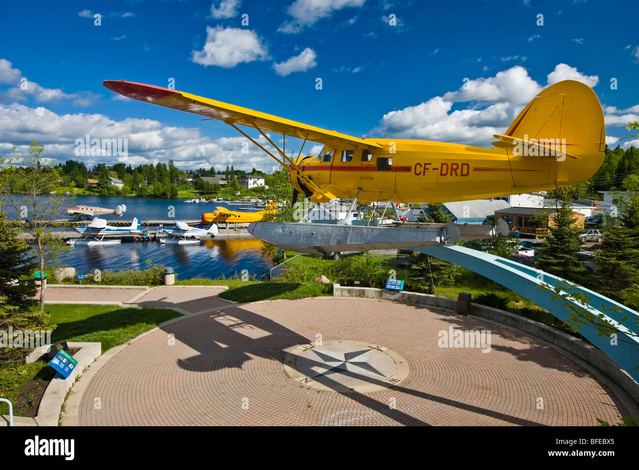 Norseman aircraft on a pedestal in the Norseman Heritage Centre Park in the town of Red Lake, Ontario, Canada - Stock Image