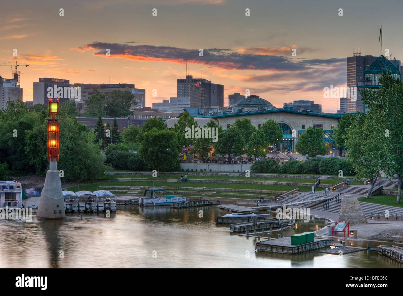 Dusk over The Forks Market, Tower and Marina, a National Historic Site, in the city of Winnipeg, Manitoba, Canada - Stock Image