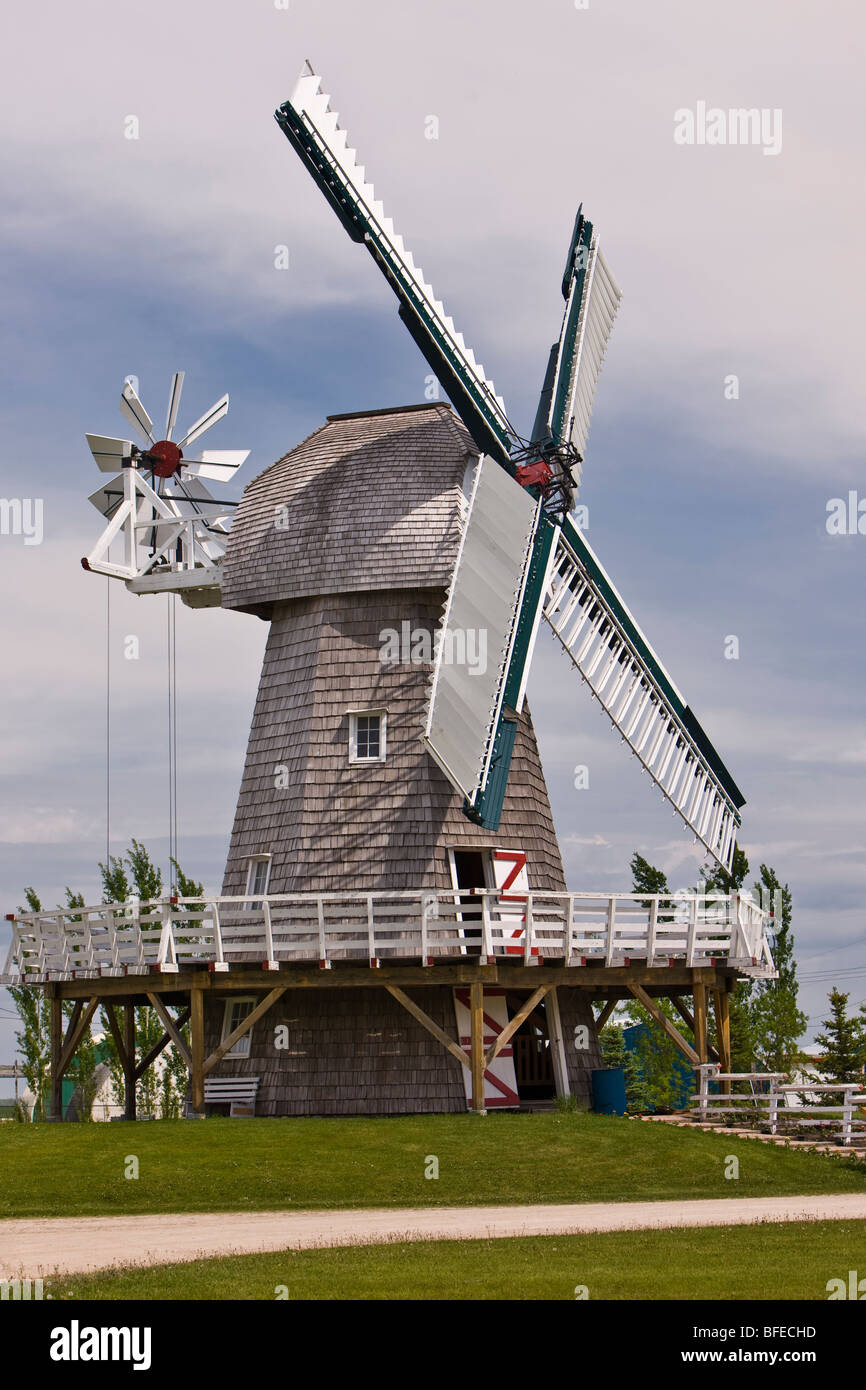 Windmill (built in 2001) at the Mennonite Heritage Village, Steinbach, Manitoba, Canada - Stock Image