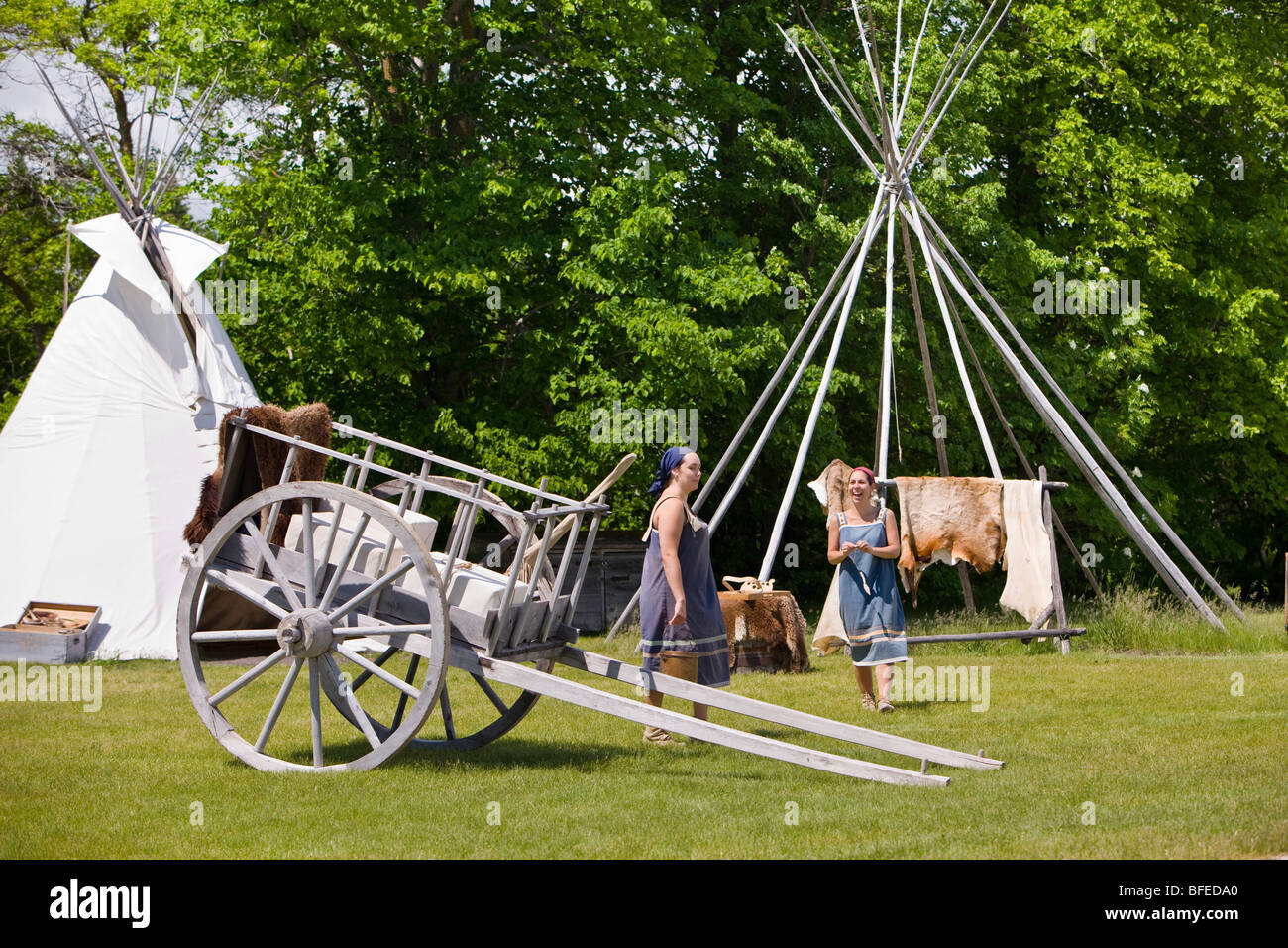 Reenactment at the Aboriginal Encampment of Lower Fort Garry, a National Historic Site, Selkirk, Manitoba, Canada - Stock Image
