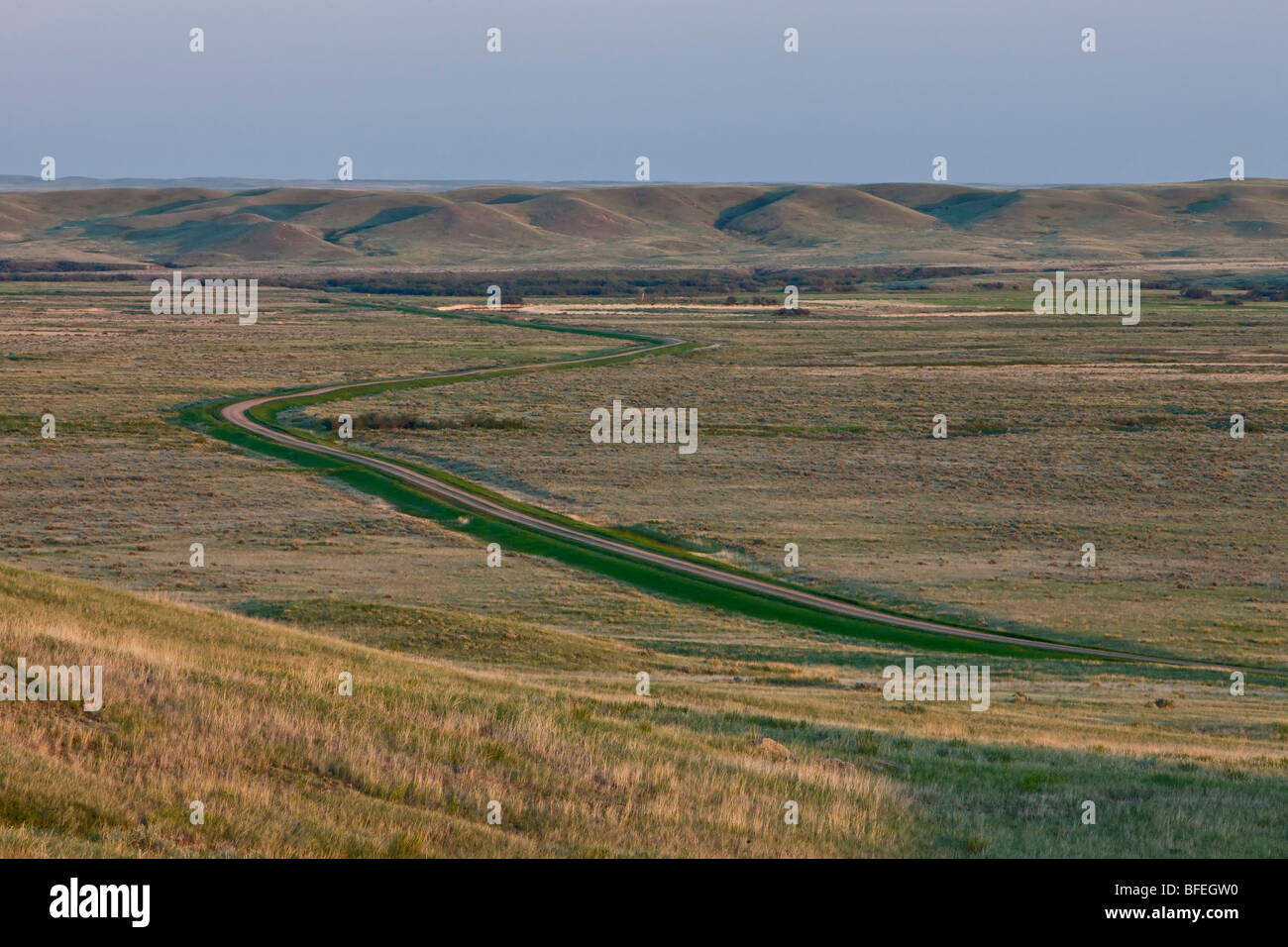Landscape of the Frenchman River Valley in the West Block of Grasslands National Park, Saskatchewan, Canada - Stock Image