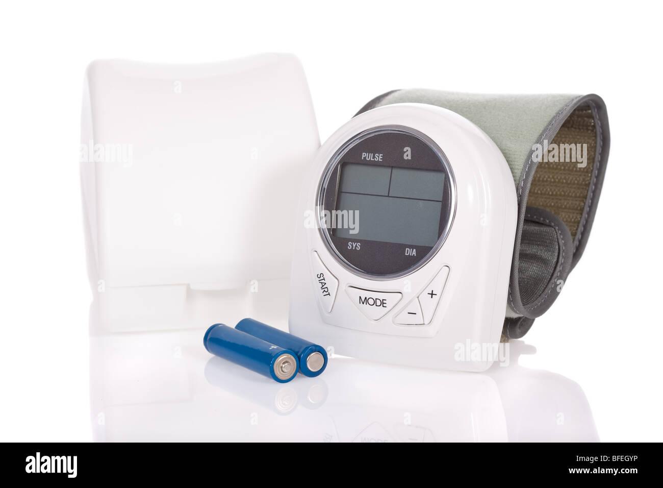 Wrist sphygmomanometer (blood pressure measure equipment) isolated on white background - Stock Image