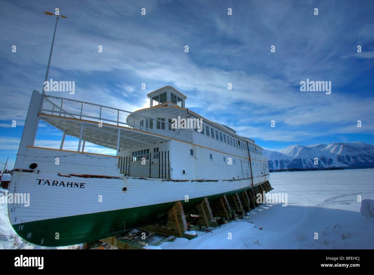 The old sternwheeler Tarahne that sits on the shores of Atlin Lake, British Columbia, Canada - Stock Image