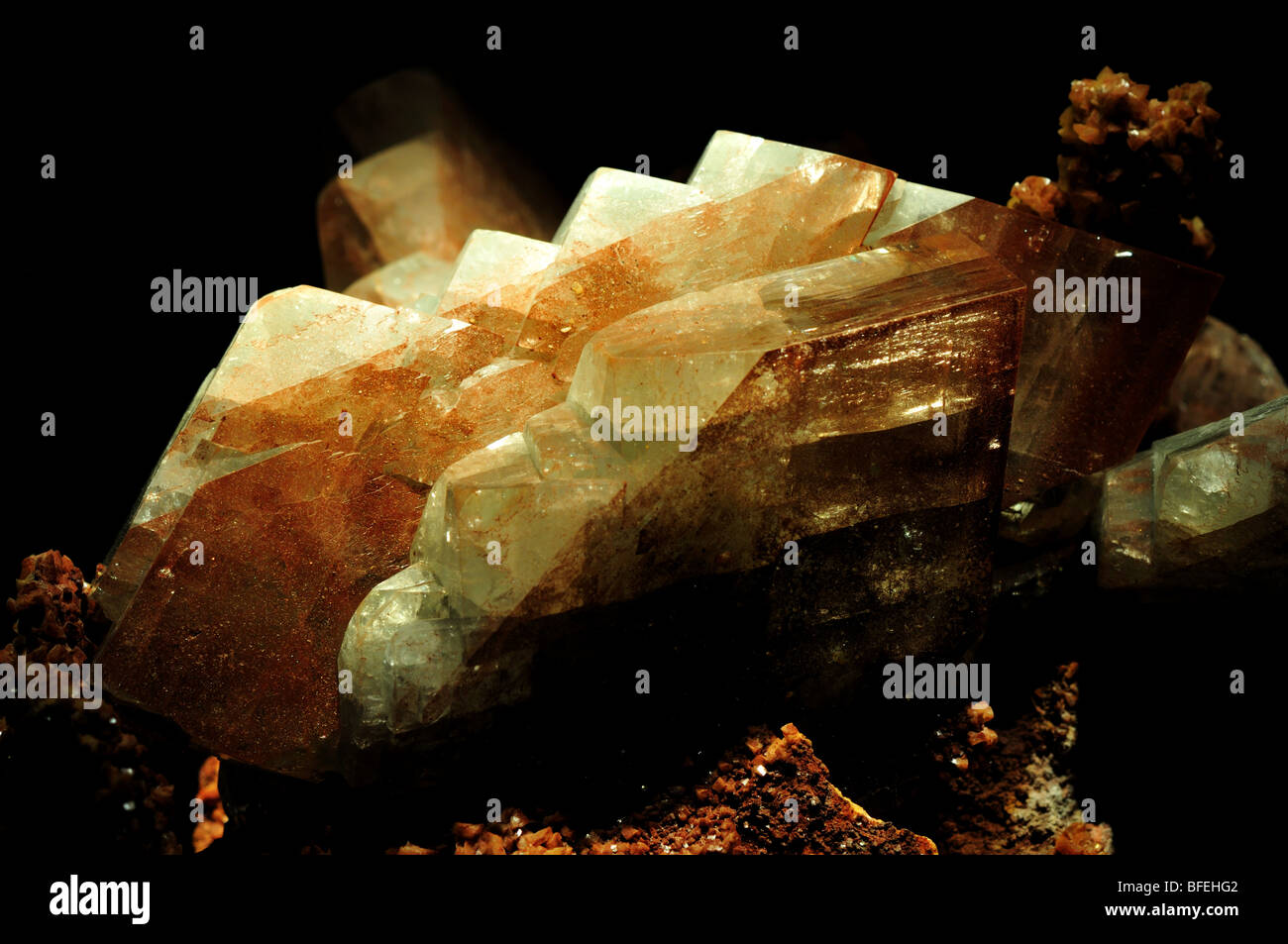 Barite (baryte) crystals, barium sulfate BaSO4. - Stock Image