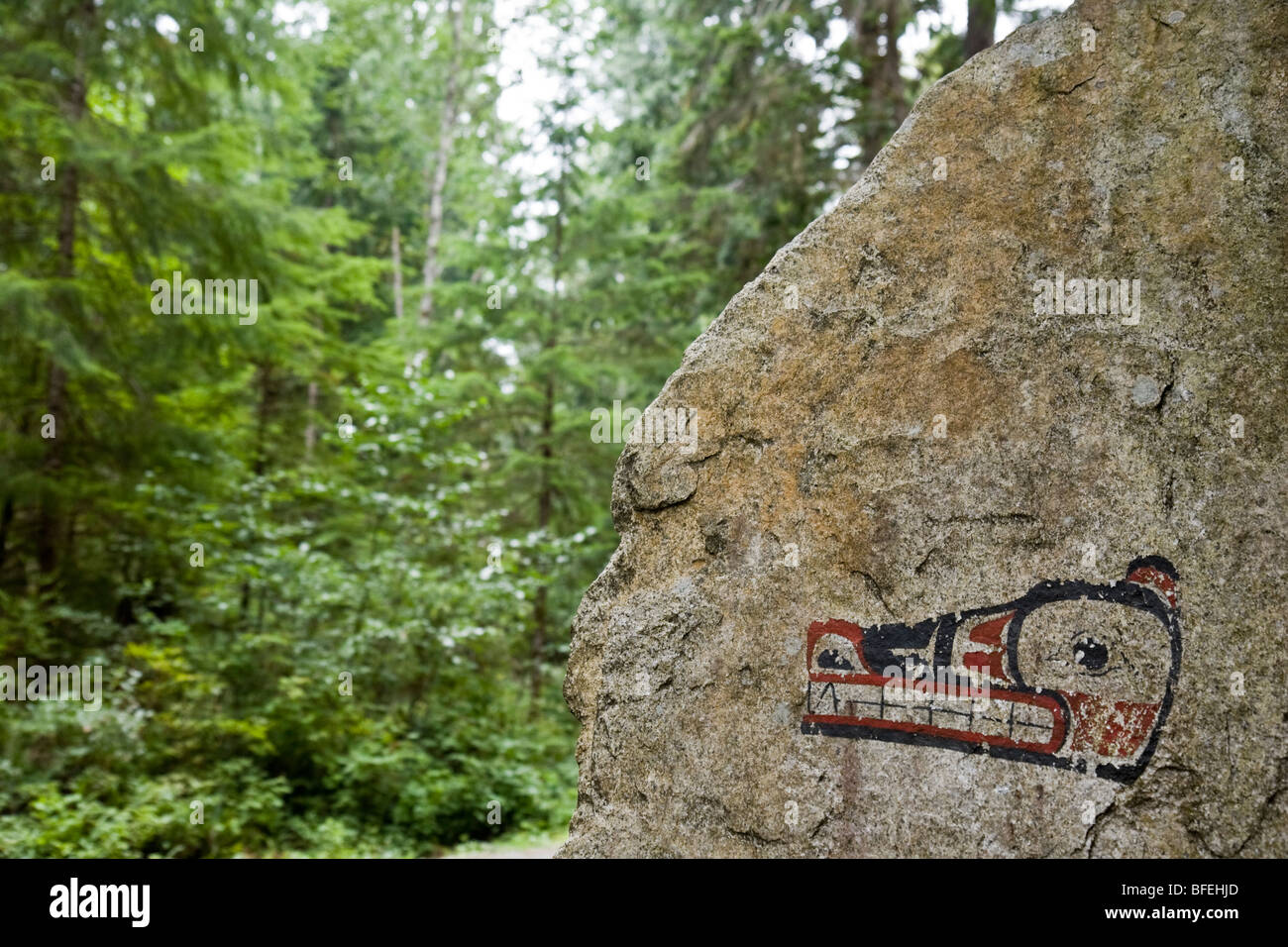 Pictograph on rock in Skookumchuck Narrows Provincial Park near town of Egmont on the Sunshine Coast, British Columbia, - Stock Image