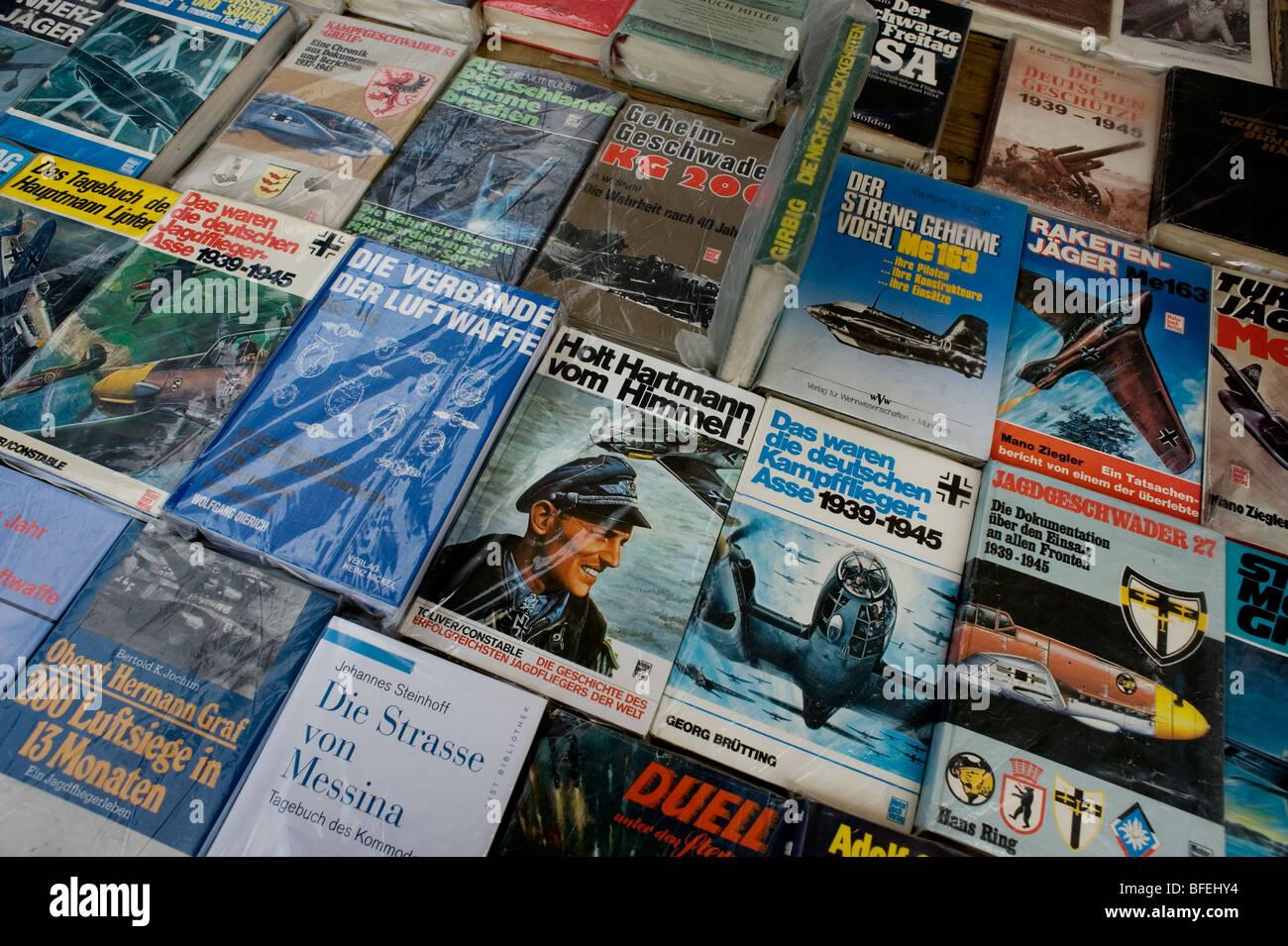 Berlin 1990 DDR,flea market,Wall,war books, - Stock Image