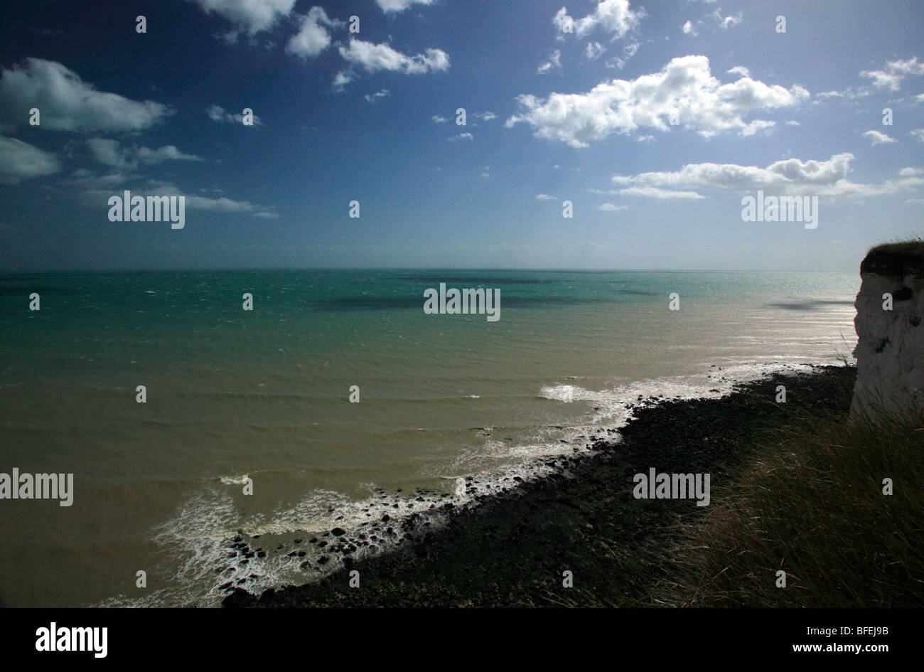 Seascape of the English Channel,  taken from the Saxon Shore Way between Kingsdown and St Margrets Bay, Kent. - Stock Image