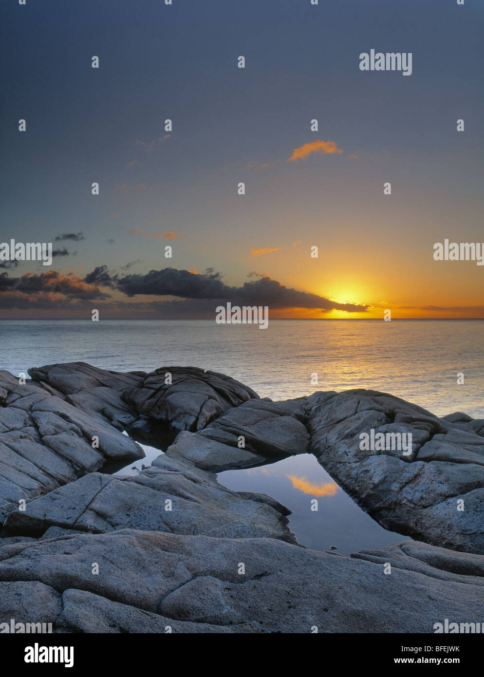 Sunset over Lakie's Head, Cape Breton Highlands National Park, Nova Scotia, Canada - Stock Image