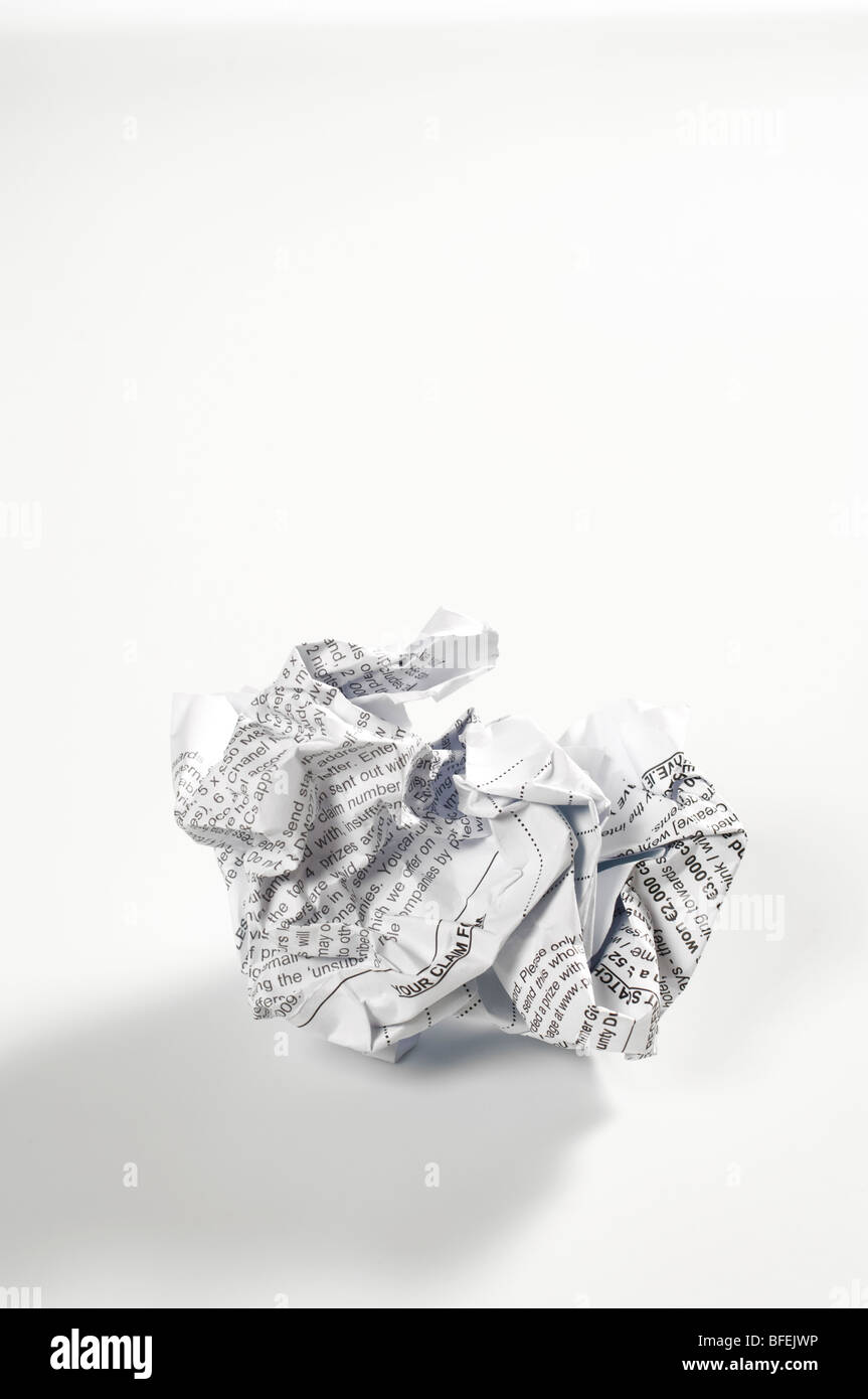 A crumpled up document - Stock Image