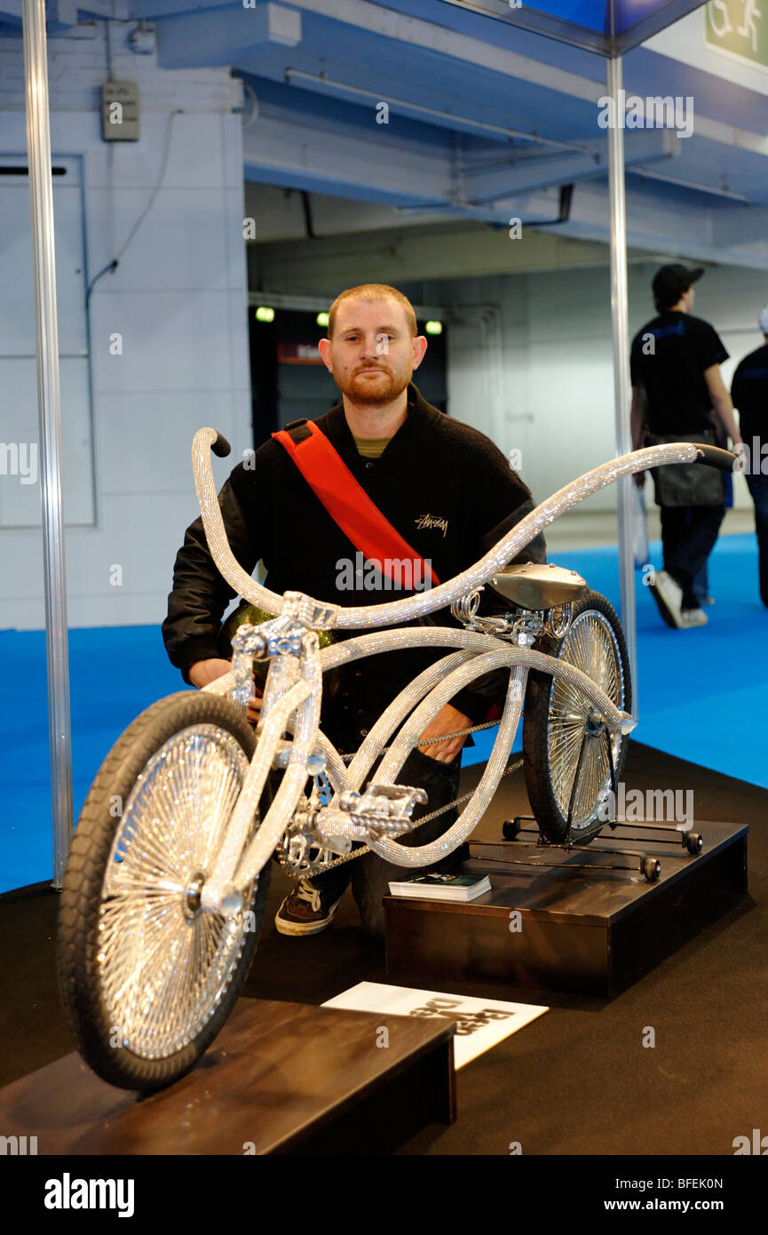 Ben Wilson designer of Swarovski Low Rider Bike worth approximately £25000. Cycle Show. London 2009. Stock Photo