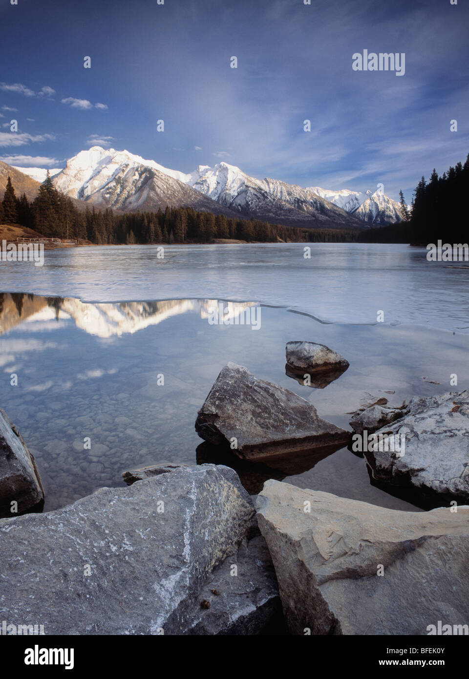 Johnson Lake and the Fairholme Range, Banff National Park, Alberta, Canada - Stock Image