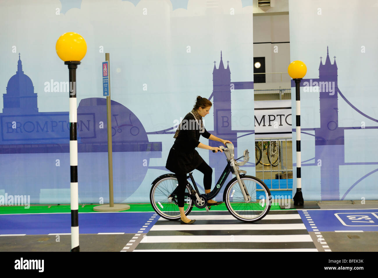 TFL Cycle Hire bikes, public bicycle sharing scheme which will launch in London 2010. Cycle Show. London 2009. - Stock Image