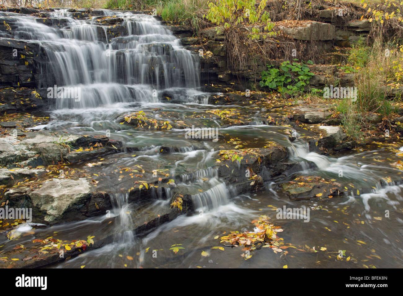 Fifteen Mile Creek and Martins Falls, Rockway, Ontario, Canada - Stock Image