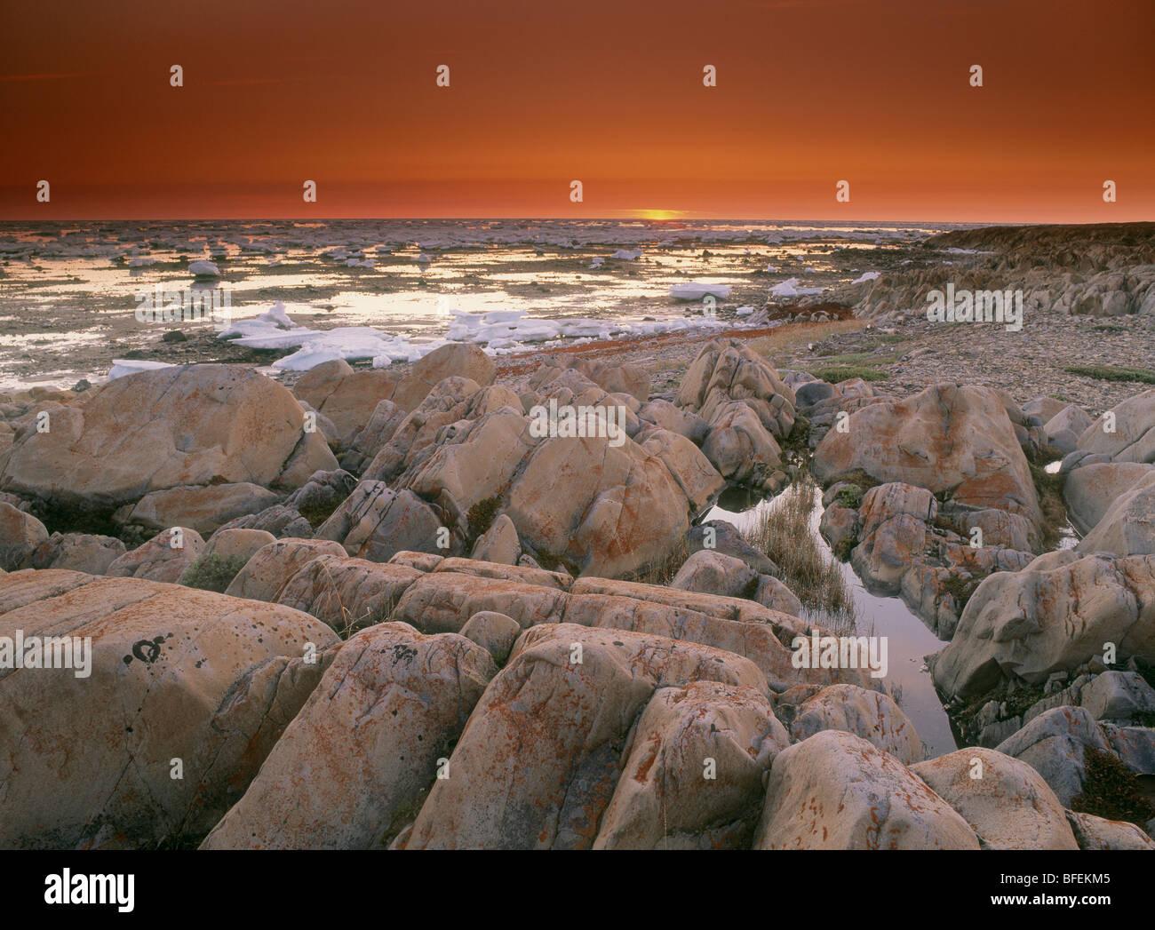 Sunset over Bird Cove, Hudson Bay, Churchhill, Manitoba, Canada - Stock Image