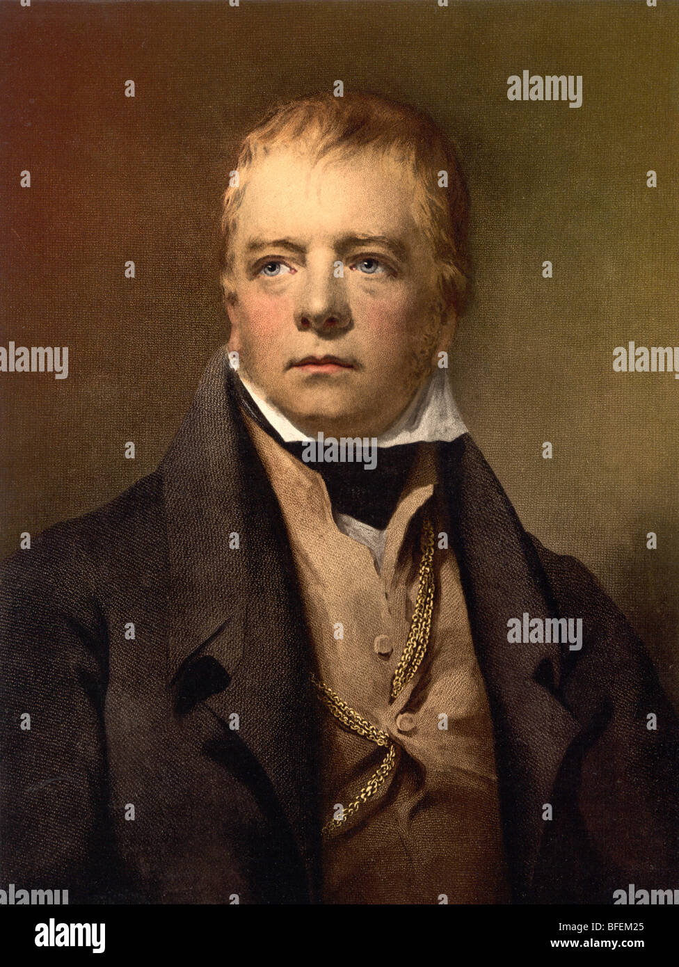 Portrait print of Scottish historical novelist and poet Sir Walter Scott (1771 - 1832). - Stock Image
