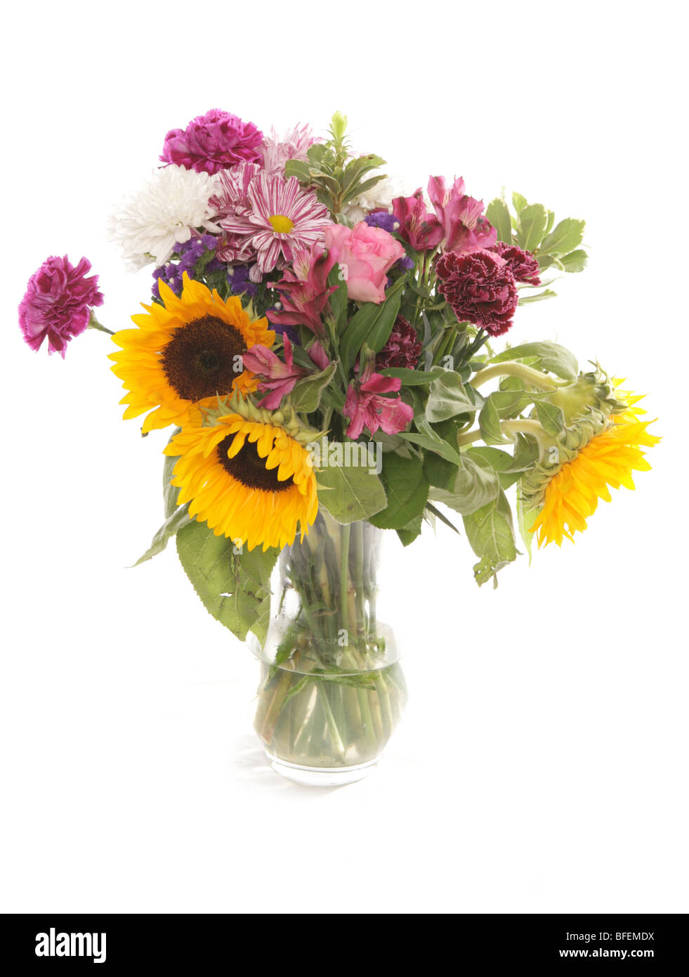 vase of mixed flowers Studio Stock Photo